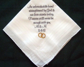 Personalized Wedding Handerchief for the Groom.129S