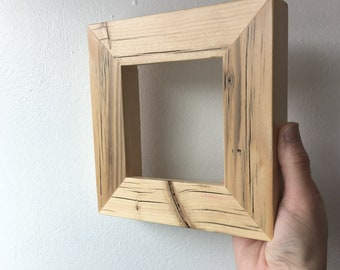 Natural Reclaimed Pine Frame 1.5x1.25 Chunky Style - Choose your small frame size - 3x3, 2x6, 3.5x5, 4x4, 4x5, 4x6, 5x7, 6x6, 6x8, 7x7, 4x10