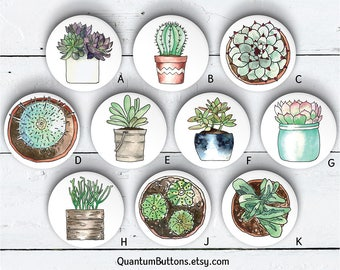 """Potted Plant Button or Magnet, 1.5"""" Pin-back Button Set, Succulent button, Plant Pin, Potted Plant Badge, Party Favors, Plant Flair 91"""