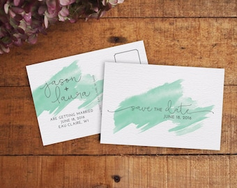 Save the Date, Save the Date Postcard, Printable Save the Date, Watercolor Save the Date, Modern Save the Date, Mint Save the Date,