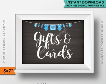 """Cards and Gifts Sign, Baby Shower Gift Table Sign, Shower Gifts, Gifts & Cards, It's a BOY 5x7"""" Chalkboard Style Instant Download Printable"""