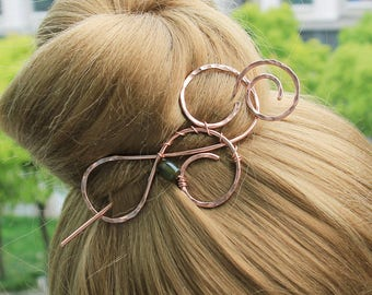 Copper Hair Clip Hair Stick, Agate Hair Slide Hair Pin, Copper Hair Barrette, Unique Hair Accessories for Mother day gift,  Women Gift