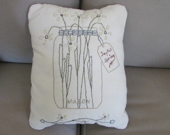 "Primitive Stitchery Pillow, ""Canning Jar Joyful Spring Pillow."""