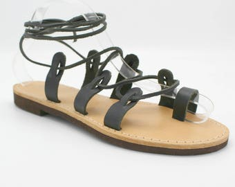 Greek sandals, black gladiators, black womans sandals, lace up sandals,greek gladiator sandals, nu-pieds noir, sandales grecques cuir