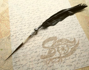 Quill Pen Raven's Wing Ink Dip Porcupine Quill Feather Pen and Hematite STEAMPUNK