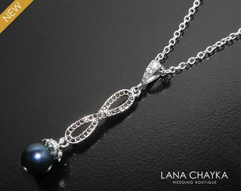 Navy Blue Pearl Infinity Necklace, Swarovski Night Blue Pearl Silver Necklace Bridal Dark Blue Pearl Charm Necklace Mother of The Bride Gift