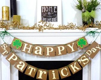 Happy St. Patricks Day / Irish Sign / Decoration Banner / Happy St Patricks Day Banner / St. Patricks Decorations / Photo Prop / Clover