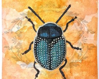 "Original Watercolor ""Bailey"" Painting - 3 1/2 x 3 1/2 Beetle"