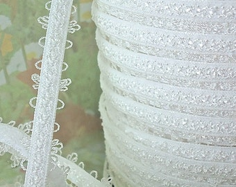 2yds Elastic Stretch Trim White 1/4 inch Skinny lingerie Elastic with Scallops for Bra Strap Headbands Sewing lingerie Elastic by the yard