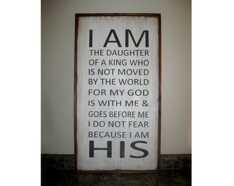 I am the daughter of a King framed sign on reclaimed wood Nursery Gift* Children's room decor* House Wares* 18x36