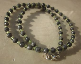 for a kid: Larvikite Peridot Necklace