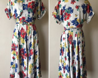 1950s Floral Dress and Bolero Set
