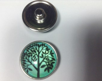 1- 20mm Black on Green Tree of Life Snap Button