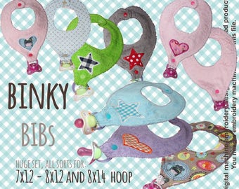 BINKY BIB - full set for 7x12, 8x12 and 8x14 hoop  - set - In The Hoop - Machine Embroidery Design File, digital download
