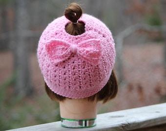 Adult crochet hat, Women crochet hat, Messy bun crochet beanie with bow, messy bun hats, gift mom gift, women ponytail hat, gift for mom