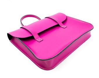 UK Made Real Leather Music or Laptop Case Satchel Messenger Bag (Punk Pink)