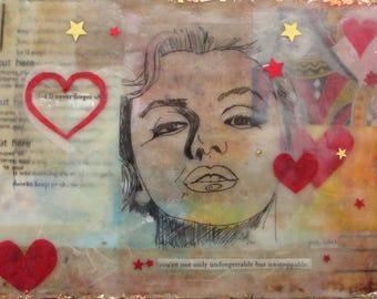 Marilyn Monroe art, Encaustic art, portrait, illustration, queen of hearts, red hearts