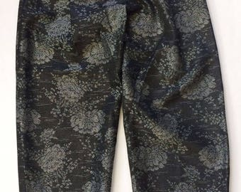 Vintage 1980s Kriza Pants black silver metallic brocade floral asian Made in Italy Size 40