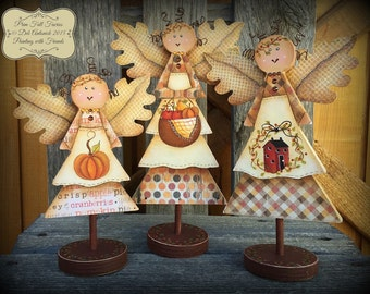 Prim Fall Faeries - Painted by Deb Antonick, Painting With Friends E Pattern