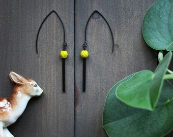 2 PAIRS LEFT Kira Earrings - matte black chartreuse green modern minimal simple geometric minimalist dangle long bar tube minimalist