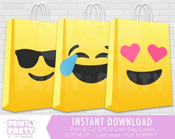 Printable Emoji Faces Party Favor Bag Covers, Emoji Faces Birthday Party Favors, Emoji Faces Loot Bags, Gift Bags, Instant Download