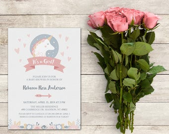Unicorn Baby Shower Invitation, It's a Girl Invitation, Baby Shower Girl, Hearts, Flowers, Magical Unicorn, Arrow,  Printable No. 1016