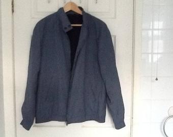 Austin Reed blue pinstripe fleece lined jacket