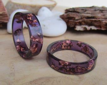 purple ring men, copper ring men, resin ring men, women ring, promise ring, dark purple ring, men ring, ring for her, resin band, women band
