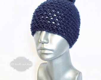 Navy Blue Chunky Beanie with Pom, Blue Crochet Hat, Dark Blue Winter Beanie With Puff, Pom Pom Knit Hat, Ski Cap