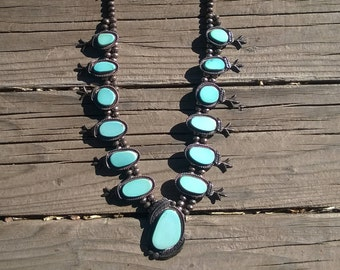 Historic Natural Hachita Turquoise Squash Blossom Necklace