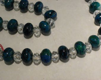 Stone Necklace blue green chrysocolla with 45 cm white Crystal beads