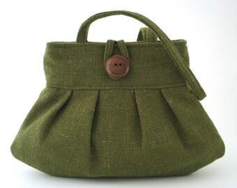 green bag- retro purse- small tote bag - shoulder bag purse - fabric bag-  green handbag- modern handbag