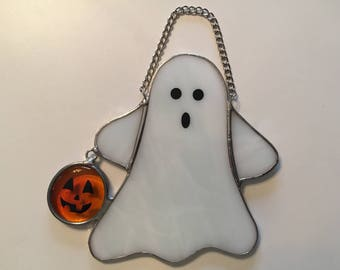 Handmade Stained Glass Ghost with Pumpkin - Large