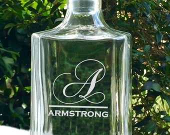 Personalized Whiskey Decanter, Monogrammed Name, Glass Decanter, Custom Decanter, Liquor Decanter, Scotch Decanter, Etched Decanter, Wedding