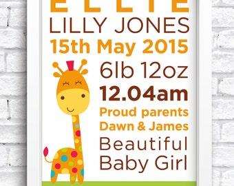 Personalised Giraffe Baby Birth Details Framed Print Keepsake. New Baby Print. Nursery Artwork. Word Art. FREE POSTAGE