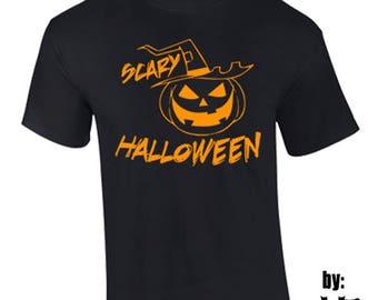 T-Shirt Scary Halloween Jack o'lantern Holidays Custom Shirt & Ink Color
