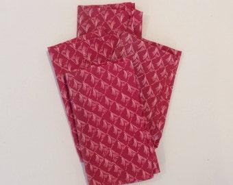 Set of 4 Pink Indian Block Printed Cotton Napkins