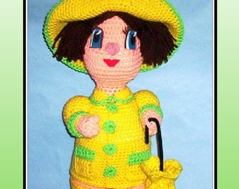 April Showers Crochet Pattern, crochet doll
