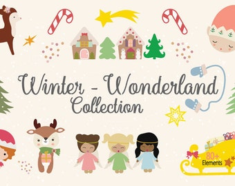 Winter Wonderland Collection / Christmas clipart / Holiday clipart / Season clipart / Elf clipart / Deer clipart / Christmas Tree clipart