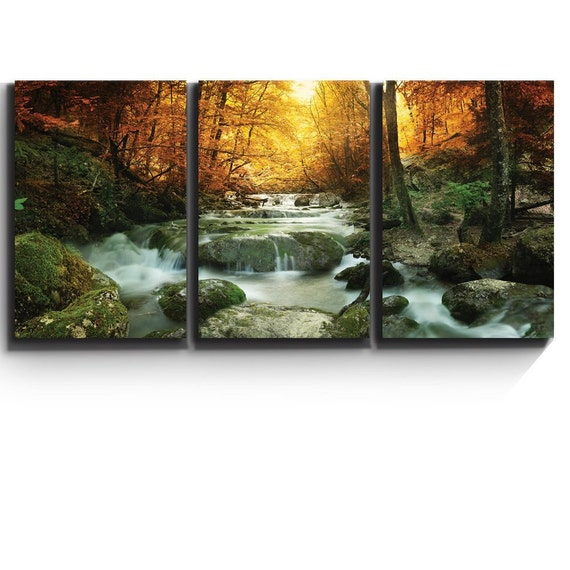 Modern Wall Decor Golden Leaves And Forest Waterfall Serene
