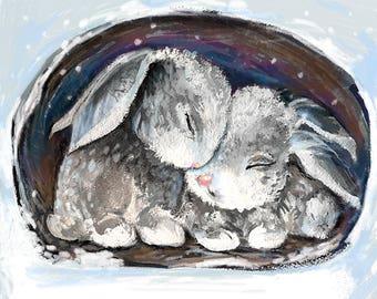 Snuggle Bunnies - 8x10 Print