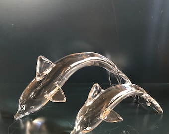 PAIR! of 1977 Lyn Blown Glass Dolphins