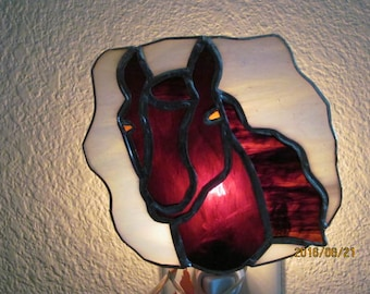 Horse head stained glass nightlight