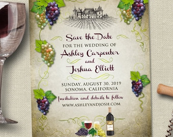 Vineyard Grapes Winery Save the Date Postcard or Flat Card, Printable, Evite or Printed (US Only) Announcements
