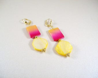 Posies pierced or clip on earrings / fuschia and yellow Mother of Pearl shell
