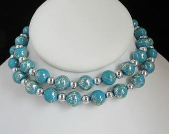 Vintage Teal Green Necklace, Silver Tone Etched Bead Necklace, Gift Boxed