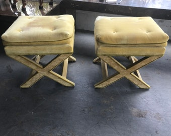 Pair of Hollywood Regency style fabric cloth X Ottomans/Benches