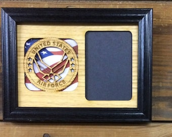 5x7 US Air Force Picture Frame, Air Force Memorbelia, US Air Force Gift, Air Force Decor, Air Force Tribute, Photo Frame Holds 3x4 Picture