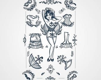 tattoo temporary pinup