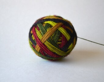 "Dyed to Order: ""Little Weasel"" - Avocado green, Chartreuse, Scummy Green, Gold, Red, Black Stripes"